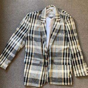 Men's sports coat circa 1985-linen in plaid